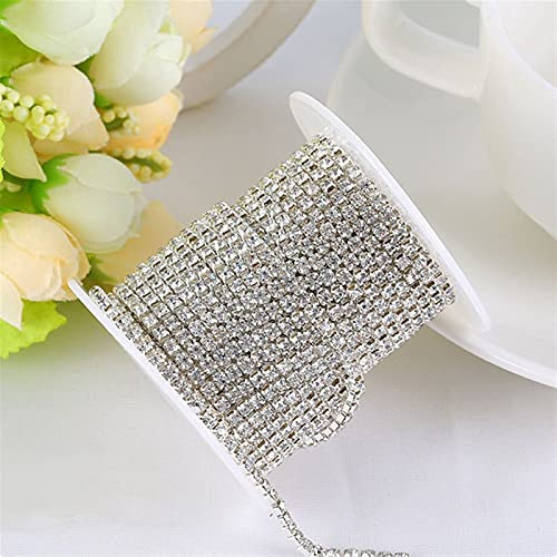 BJKKM Cadena de Copa de Diamantes de imitación Rhinestones Cadena cristalina Transparente 3 Yardas/Lote SS6 / SS8 / SS10 / SS12 Garra de Plata para Prendas de Vestir Usado para; Coser/Adhesivo