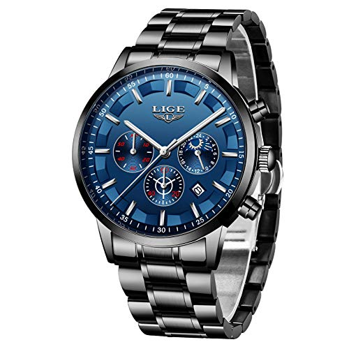 LIGE Reloj para Hombre Acero Inoxidable Impermeable Multifunción Analógico Cuarzo Cronógrafo Deportivo Calendario Reloj Casual para Hombre (Blue Silver)