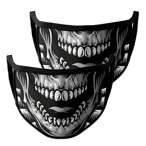 2Pcs Unisex Halloween Face Covering Washable 2-Ply 3D Printing Face Bandanas Reusable and Breathable Face M,Windproof and DustFog, with Elastic Rope,High Filtration and Ventilation Security(5 Styles)