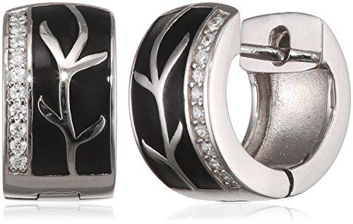 Goldmaid Damen-Creolen Black Lack 925 Sterlingsilber 20 weiße Zirkonia Ohrringe Schmuck