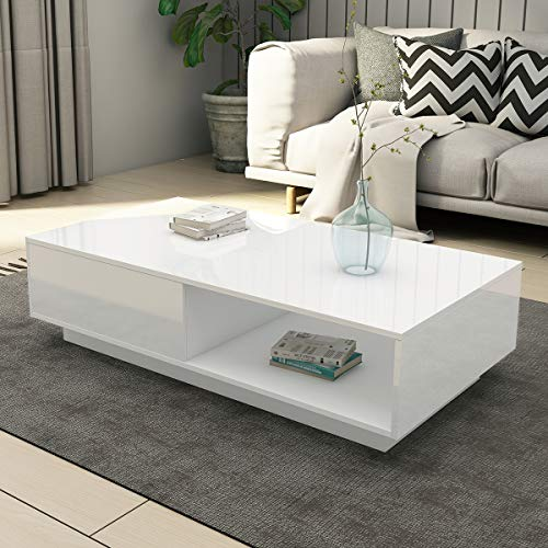 UNDRANDED Universal Coffee Table with 1 Storage Drawer & Shelf ALL High Gloss Modern Sofa Table Rectangle Living Room Furniture 95x55x31cm (White)