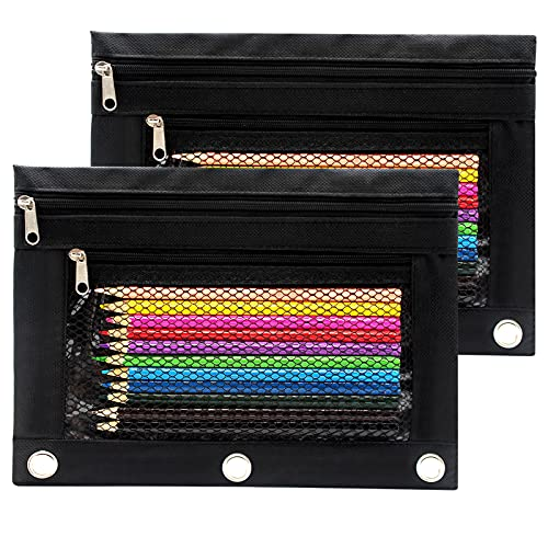 Cinvo Pencil Pouch 3 Ring Binder Pouch Zippered Pencil Case Canvas Pencil Bag with 2 Compartments (Black, Set of 2)