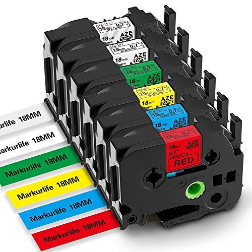 Markurlife kompatible Etikettenband als Ersatz für Brother P-Touch Schriftband 18mm 0,7 Zoll TZ-241 TZ-141 TZ-441 TZ-541 TZ-641 TZ-741 für P-Touch PT-D400, PT-9600, PT-9700, PT-P700, PT- P750W