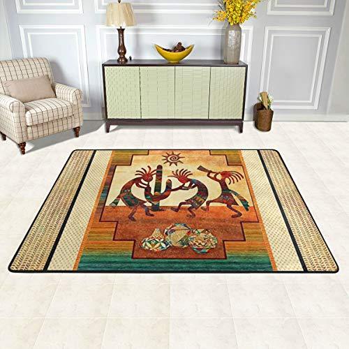 njfhgk Doormat Kokopelli Sunset Beat Southwest Native American Carpet Outdoor Indoor Rubber Door Mats Non Slip Area Rugs for Front Door Kitchen Bedroom Garden Home 36'X24'
