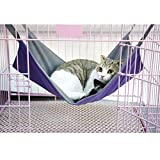 2 in 1 Summer&Winter Reversible Pet Cat Cage Hammock Rabbit Kitten Hanging Bed Cat Crib Cradle Radiator Comforter Basket Cushion Mat, Waterproof Oxford Fabric, Flannel, Support Weight up to 15kg