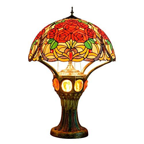 Estilo retro lámpara de mesa decorativa Tiffany vidriado uva lámpara de mesa de gama alta gran sala de estar, dormitorio, vestíbulo frontal decorativo retro clásico villa lámpara de mesa