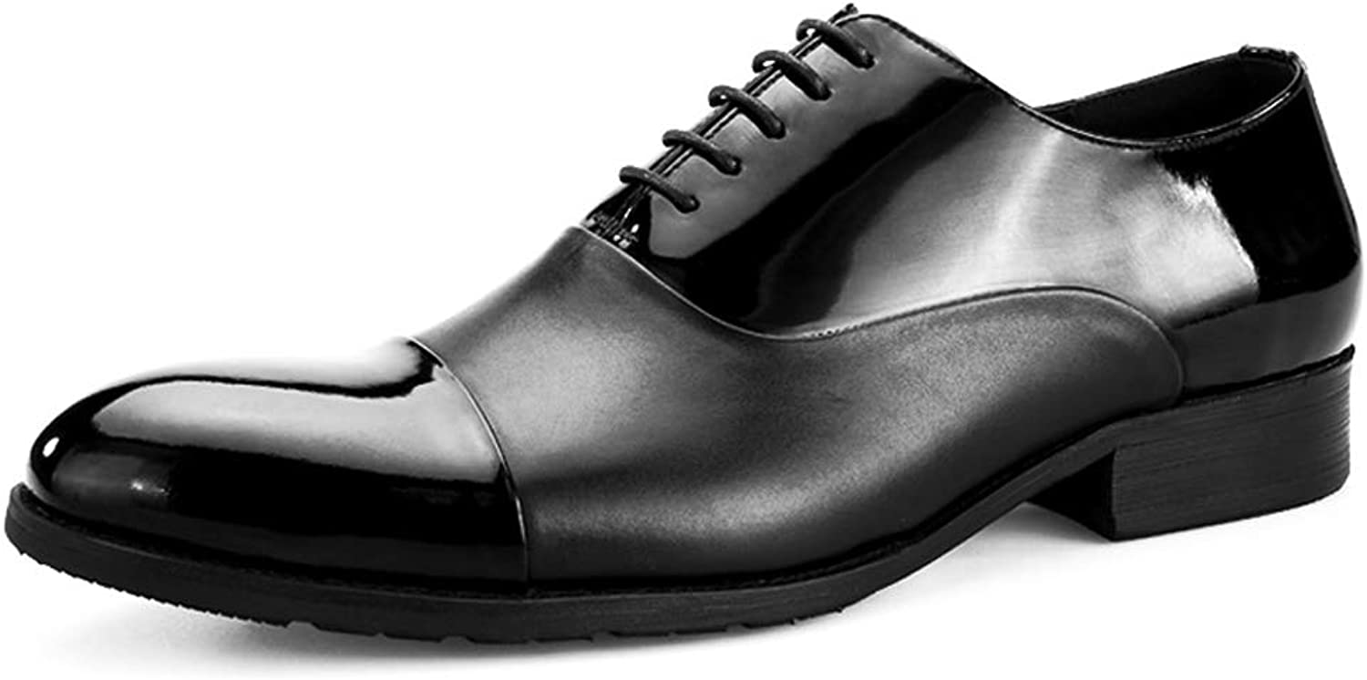StickSeek Patent Leather Men's Footwear Formal Dress Wedding Oxfords Handcrafted Lace up Man Cap Toe shoes