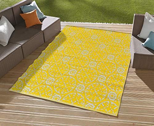 NAZAR - Alfombra de exterior de plástico trenzado (120 x 160 cm), color amarillo