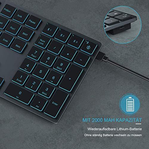 Jelly Comb Bluetooth Tastatur beleuchtet, Multi-Gerät Ultradünne Kabellose Tastatur mit 3 Bluetooth, wiederaufladbare Full-Size QWERTZ Funktastatur für Windows, Laptop, PC, Tablet, Handy(Grau)