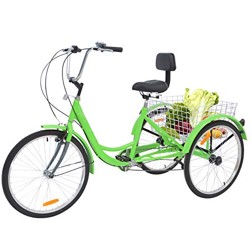 Barbella Adult Tricycle, 24-Inch Single and 7 Speed Three-Wheeled Cruise Bike with Large Size Basket...