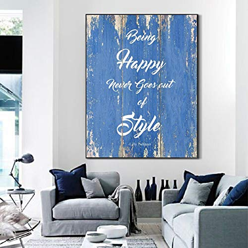 KWzEQ Inspirational life quotes always happy, timeless style canvas painting mural art 80X105cmFrameless painting