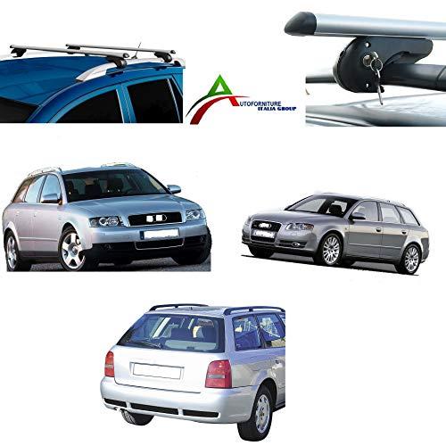 Barras portaequipajes de aluminio de techo, diseñadas para coche con raíles tradicionales (hay espacio entre el techo y la barra), apertura máx. 120 cm. Barras premontadas dotadas de sistema antirrobo