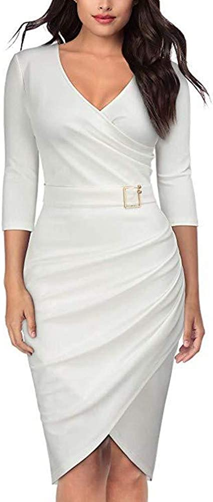 JOSUSY Womens Sexy 3/4 Sleeve V Neck Ruched Bodycon Cocktail Party Midi Dress