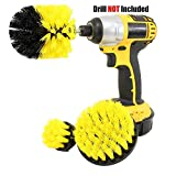 HOME CUBE 3 Pc Drill Brush Bathroom Surfaces Tub, Shower,Kitchen, Tile and Grout