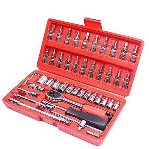 WEI-LUONG llaves Manuales de reparación de automóvil de la herramienta 46pcs de 1/4 pulgadas de reparación Juego de dados de coches Herramienta de trinquete llave de torque Combo Kit de Herramientas d