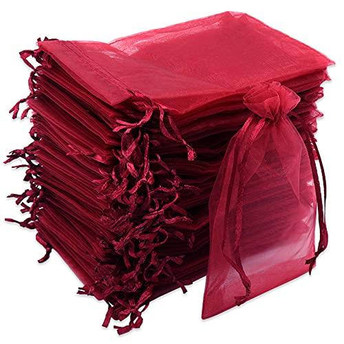 Leeyunbee 100PCS 10x15cm Bolsa de Organza Rojo, Bolsitas de Organza, Bolsas para Envoltura de Joyas, Bolsas de Organza de Regalo con Cordón para Boda Favores Joyas y Dulces