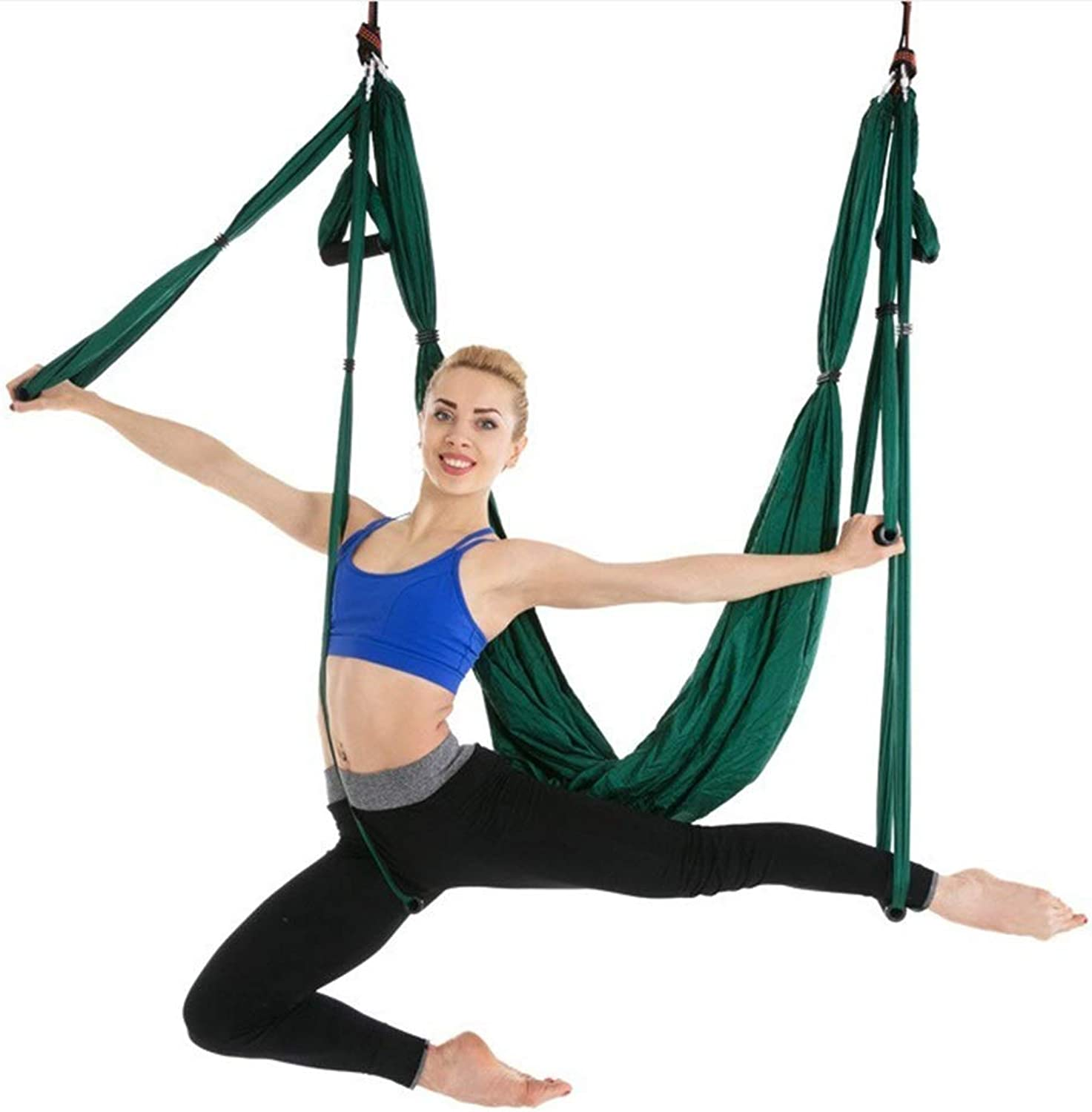 Inversion Equipment Yoga Hammock 6Handle Home Ingreened Fitness Hammock AntiGravity Yoga Harness Strong WeightBearing Yoga Hammock Load 200KG (color   Green)