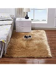 Decdeal Long Plush Ultra Soft Fluffy Rugs Rectangle Shape Faux Sheepskin Wool Carpet Rug for Living Room Bedroom Balcony Floor Mats