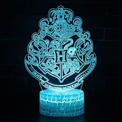 Vitila Harry Potter 3D Led Ilusión Luz Noche Luz Mesita De Noche Lámpara De Mesa Cambio Colorido Regalo Creativo, Base Negra: Toque Colorido + Control Remoto