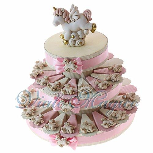 Torta Portaconfetti Magnete Unicorno Rosa (35 Pezzi)