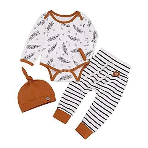 T TALENTBABY Conjunto de ropa para recién nacidos y niños y niñas, conjunto de mameluco a rayas + pantalones + gorro.