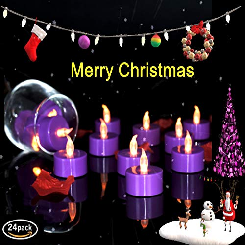 VETOUR 24pcs Purple Flameless Tea Lights Candles,Pumkin LED Tea Lights Candles, Colors Flameless Tea Lights,Battery Operated Fake Candles–Decoration for Party,Halloween
