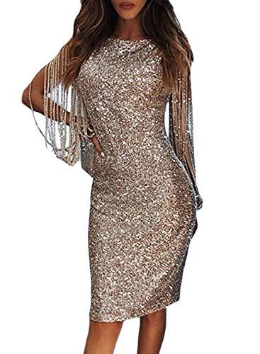 Minetom Damen Paillettenkleid Minikleid Cocktailkleid Abendkleid Partykleider Etui Kleid mit Pailletten Langarm Rückenfrei Kurz B Aprikose DE 38