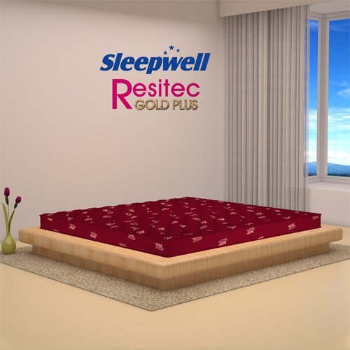 Sleepwell Resitec Gold Plus Mattress - (78 x 72 x 4.5 Inches, Maroon)