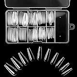 Uñas Postizas Francesa, 10 Tamaños Tips Natural Translúcido, 100 Piezas Uña Falsa Artificial de Acrílico Puntas con Caja & Cortauñas para Mujeres Niñas