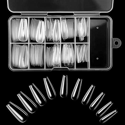 Künstliche Nägel Acryl Fingernagel Tips Französisch Kunst Tipps für Gelnägel Damen Mädchen 100 Stück 10 Größen (Transparente)