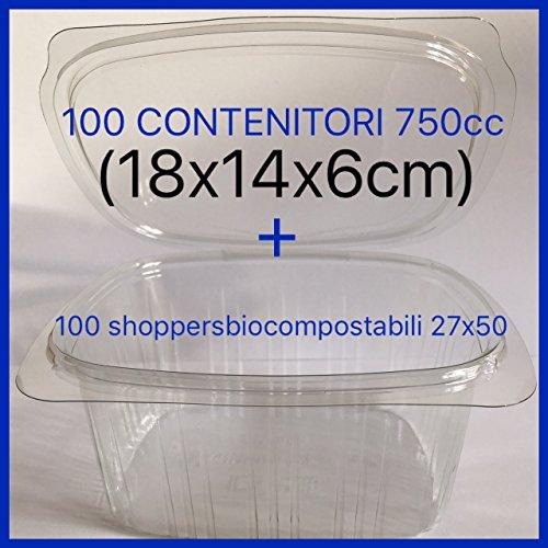 100 CONTENITORI per Alimenti USA E Getta (VASCHETTE MONOUSO) con Coperchio in Pet Classe 1 +100 Shoppers biocompostabili 27x50 COMPRESE (750cc)