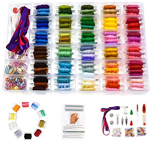 374 PCS,100 PREMIUM DMC COLOR EMBROIDERY FLOSS WITH ORGANIZER STORAGE BOX CROSS STITCH KIT WITH TOOLS, FLOSS BOBBINS, BEADS AND RIBBONS FRIENDSHIP BRACELET STRING KITS EMBROIDERY THREAD BRACELETS YARN