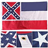 HOOSUN Mississippi Flag 3 x5  Mississippi State Flag with Two Brass Grommets & Double Stitched Edges,Mississippi Flags, State Flag of Mississippi,Embroidered Stars and Sewn Stripes Nylon Flag