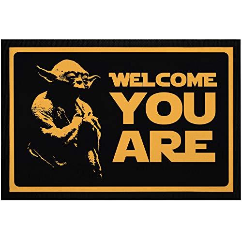 MoonWorks® Fußmatte mit Spruch Welcome You Are Film Science Fiction Parodie rutschfest & waschbar schwarz 60x40cm