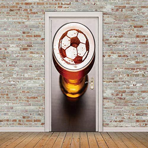 VFDecoration Etiqueta De La Puerta 3D Creatividad Cerveza Fútbol Tridimensional. 77X200Cm Pegatina De Pared Arte De La Vinilos Impermeable Murales Papel Pintado Para Sala Baño Cocina Puertas Decorat