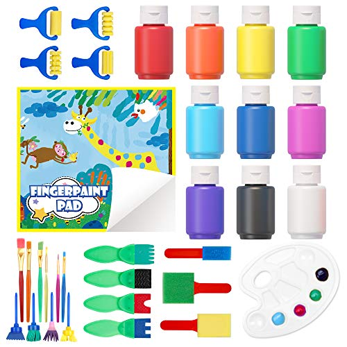 Washable Finger Paint Set Shuttle Art 33 Pack Kids Paint Set with 10 Colors 60ml Finger Paints Brushes Finger Paint Pad SpongeBrushes Palette Non Toxic for Toddlers Home Activity Early Education