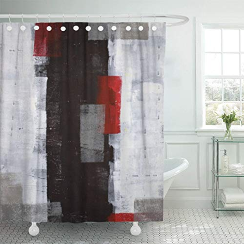 """Emvency Fabric Shower Curtain Curtains with Hooks Black Modern Red and Grey Abstract Painting White Wall Acrylic Contemporary Gallery Lines Squares Interior 66""""X72"""" Waterproof Decorative Bathroom"""