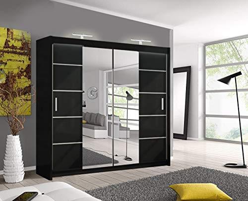Oslo moderno armadio a specchio con porta scorrevole con luce a LED, larghezza 150 cm/180 cm/203 cm (nero, 180 cm)