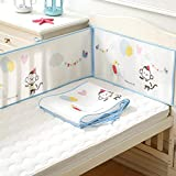 Enjovdery Baby Bedding Crib - 4PCS Padded Protector Set Skin-Friendly Animals Pattern Baby Crib Bumper Pads Rail Cover Fits Side and Front Blanket for Boys & Girls Toddler