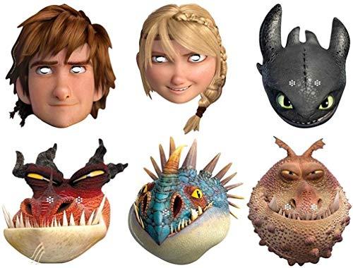 Movie Stars Multipack - 6 Offiziell Drachenzähmen leicht gemacht 2 - Gesichtsmasken aus steifen Karten - Astrid, Gronckle, Schluckauf, Monströsen Alptraum, Nadder und Zahnlos