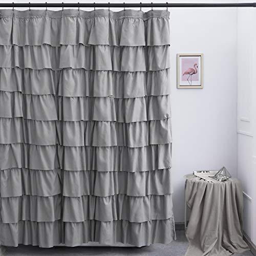 Ameritex Ruffle Shower Curtain Home Decor | Soft Polyester, Decorative Bathroom Accessories | Great for Showers & Bathtubs (72 x 72, Grey)