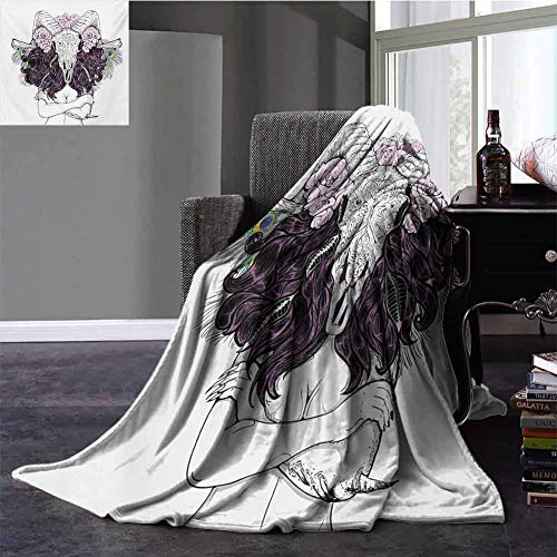 Skull Warm Blanket Tribal Lady Figure with Horned Goat Head and Peacock Feather Mystic Voodoo Pattern Super Soft Plush Blanket Throw Size Multicolor 30x50 Inch