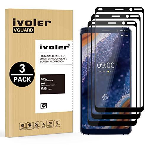 VGUARD [3 Stücke] Panzerglas Schutzfolie für Nokia 9 PureView, [Volle Bedeckung] Panzerglasfolie Folie Hartglas Gehärtetem Glas BildschirmPanzerglas für Nokia 9 PureView