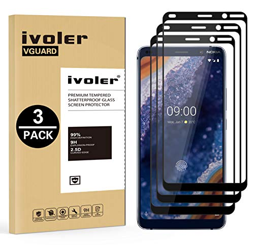 VGUARD [3 Stücke] Panzerglas Schutzfolie für Nokia 9 PureView, [Volle Bedeckung] Panzerglasfolie foliefolie Hartglas Gehärtetem Glas BildschirmPanzerglas für Nokia 9 PureView