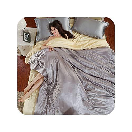 Juego de ropa de cama de satén de seda de color blanco y negro, tamaño doble, tamaño King, para verano, juego de ropa de cama individual, juego de ropa de cama, juego de funda de edredón, tipo 16, Queen con sábana