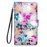 Miagon Custodia Cover Case per Samsung Galaxy A21S,Colorato Modello Pelle Portafoglio Libro Cuoio Flip Case con Porta Carte Magnetica Supporto,Colorato Fiore