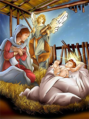 Bvlglp 5D DIY「Virgin Mary and Jesus」Full Diamond Painting,Mosaico de Hecho a Mano Punto de Cruz Diamante Bordado,decoración navideña la Obra de Arte de Regalo más diseñada -40x60cm