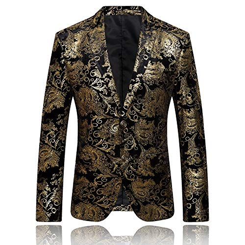 WLYX Blazer de Hombre Chaquetas Traje Jacquard de Paisley Chaqueta de Corte Ajustado Estampado Floral Chaquetas Fiesta Boda Esmoquin Estilo (Gold,M)