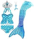 Le SSara 5 Pezzi Ragazze Costume da Bagno Sirena Code per Nuoto Principessa Bikini Costume di Bagno Set Regalo di Compleanno 3-12 Anni (No Monofin) (GB16+5pcsBlue,5-6 Anni)