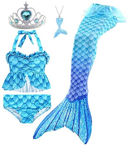 Le SSara 5 Piezas Traje de Baño para Niñas Colas de Sirena para Nadar Princesa Bikini Conjunto de Trajes de Baño Regalo de Cumpleaños 3-12 años (sin monoaleta) (7-8 Años,GB16+5pcsBlue)